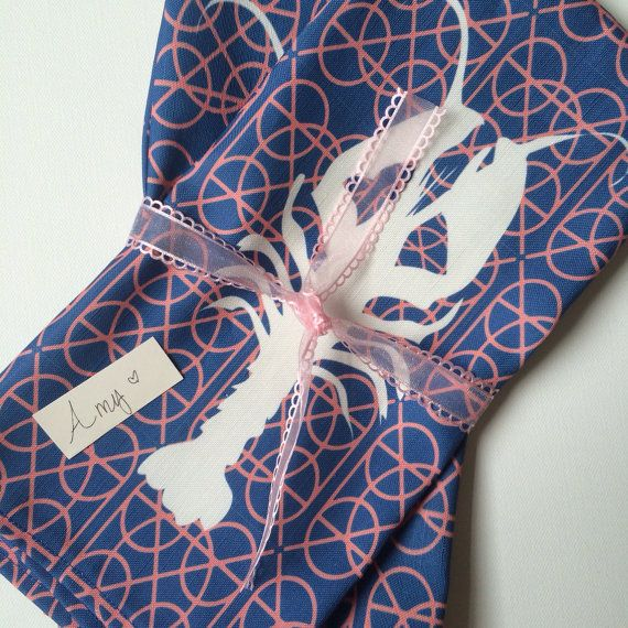 Lobster print linen kitchen towels by PalmRowPrints on Etsy