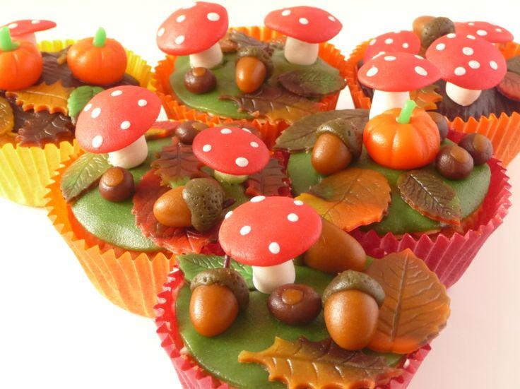 Herfst cupcakes. Erg mooi gemaakt (wel moeilijk, denk ik).