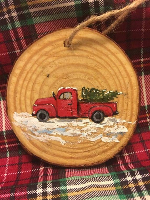 Wood Slice Ornament Red Truck In Snow Hand Painted Wood