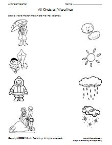 preschool weather matching printable worksheet; link also takes you to a website (TLS Books) that has lots of printables