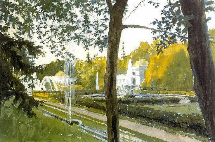 Alexander Benois (1870 — 1960, Russia - France) Peterhof. Flower beds at the Great Palace. 1918 watercolor.  Алекса́ндр Никола́евич Бенуа́