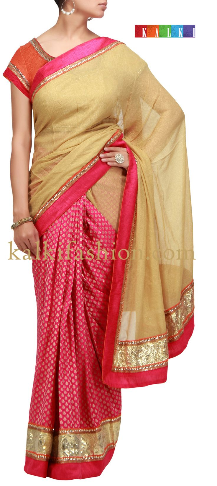 Buy it now  http://www.kalkifashion.com/half-and-half-saree-in-gold-and-pink-with-border.html Half and half saree in gold and pink with border