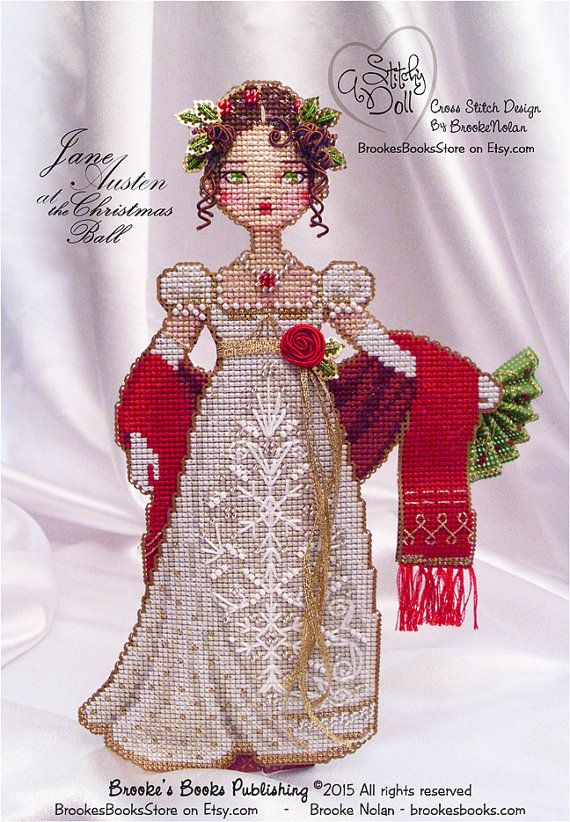 Dont leave Lefroy waiting...Stitch the Jane Austen Stitchy Doll in time for the Christmas Ball. This is for one cross stitch CHART-ONLY, (Hard