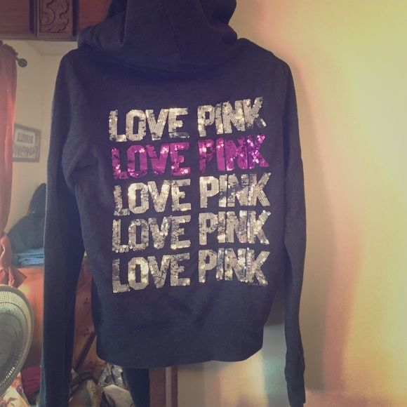 Pink zip up hoodie Dark gray sequined zip-up hoodie. There are no strings for the hood. Not faded and sequins are in great shape! PINK Victoria's Secret Other