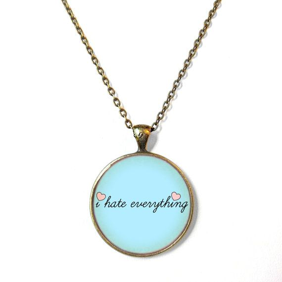 Pastel Blue i hate everything Pastel Goth Necklace by SnarkFactory, $15.00