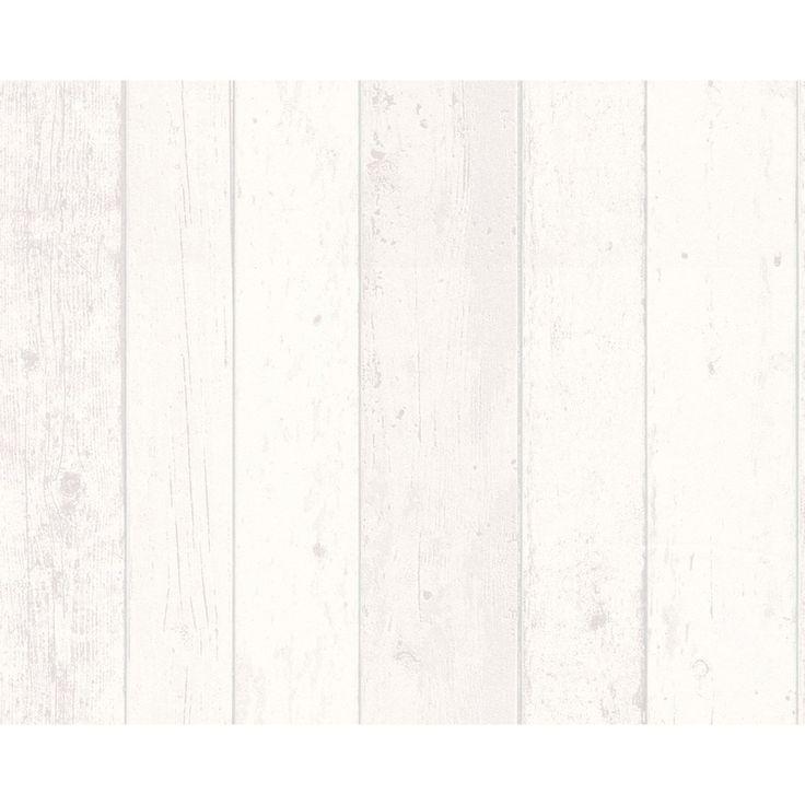 Papier peint vinyle sur intiss planche bois blanc larg - Planche en bois leroy merlin ...