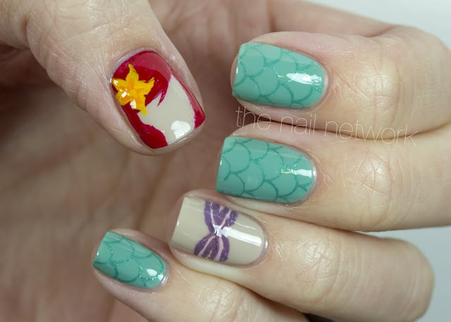 The Little Mermaid / Ariel nails -- a certain little cousin of mine would LOVE these!