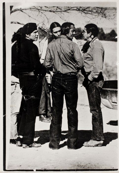 Photo by James Cook, [Dennis Banks, Russell Means, and Clyde Bellecourt during the Siege at Wounded Knee, South Dakota], March 1973