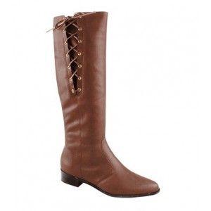 Sofisticata   Bota Feminina Montaria Rasteira em Couro Ajustável com Amarração Ferrucci 17158-05   Calçados, Roupas, Bolsas e Acessórios