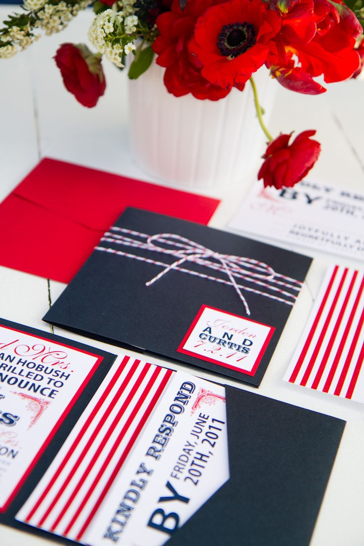 In honor of Election Day, a fun and modern take on patriotic red, white and blue. I would love to plan the rest of this wedding based on the invite!