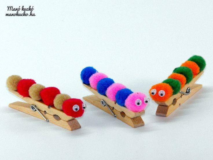 Kreativní tvoření pro děti: DIY housenka na prádelním kolíčku