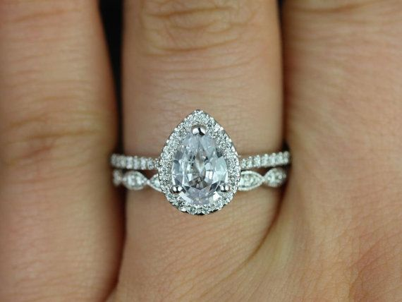 Tabitha & Christie 14kt White Gold Pear White Sapphire and Diamonds Halo Wedding Set