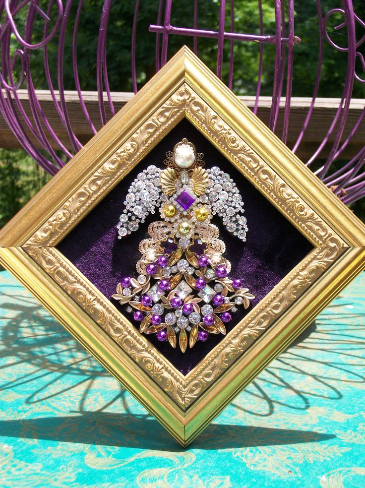 Vintage Rhinestone Jewelry Christmas Tree Angel Art By
