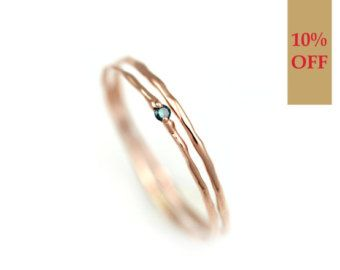 Blaue Diamant-Ring, Gold Ring Set, Gold Stapelring mit Stein, Zweig Ring, Natur, solide 14k Gold mit echten natürlichen blauen Diamanten Ring