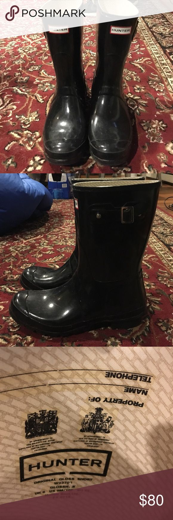 Black size 10 women's short hunter rain boots Only worn a few times. Great condition! Hunter Boots Shoes Winter & Rain Boots