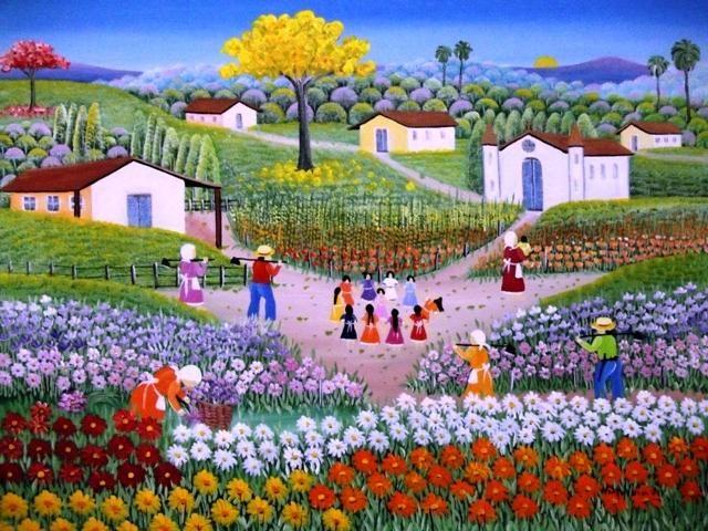VALQUIRIA BARROS TEMA CIRANDA DE FLORES A VENDA COM AJUR SP (Painting),  30x40…