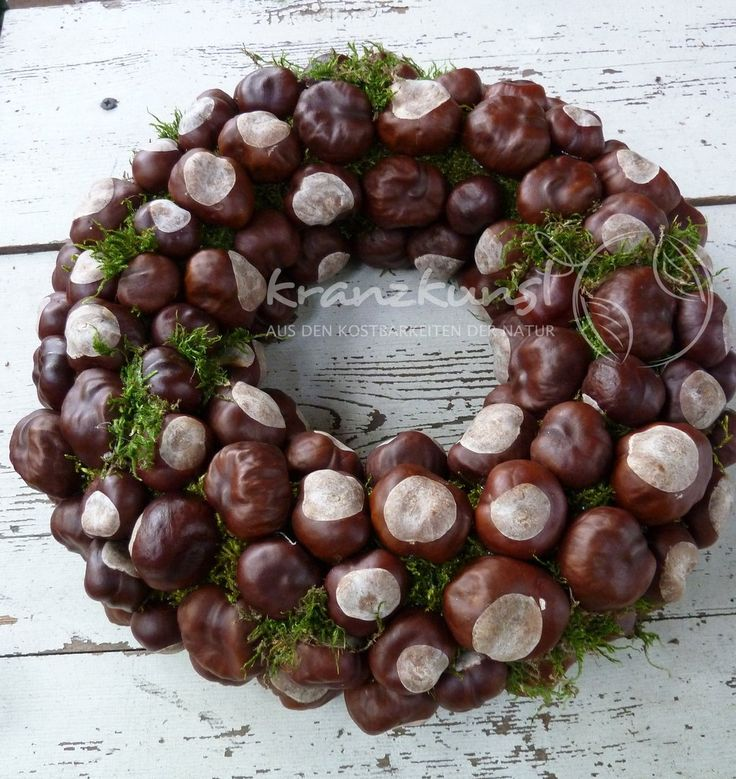 NATURAL WATER ♥ Chestnut greeting ♥ Autumn wreath table wreath COUNTRY COUNTRY SKANDI   – Kastanienbasteln