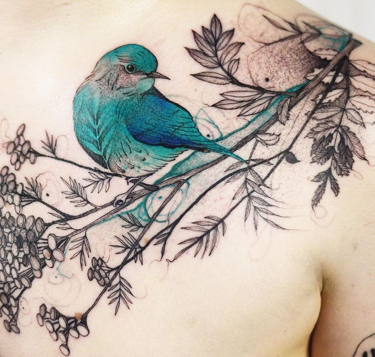 ✨ Bird tattoo by @dzo_lama