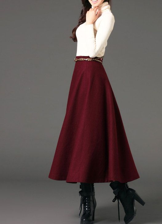 Wine red woman long winter wool dress plus size woolen dress wool skirt winter maxi skirt - S M L XL XXL