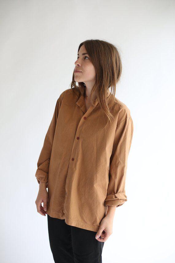 babbfd463911 Vintage Overdye Almond Brown Mandarin Shirt Long Sleeve