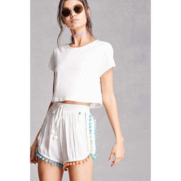 Forever21 Z&L Europe Pom Pom Shorts (39 CAD) ❤ liked on Polyvore featuring shorts, ombre shorts, woven shorts, forever 21 shorts, dolphin hem shorts and rayon shorts