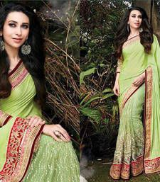 Buy parrot green embroidered chiffon saree with blouse chiffon-saree online