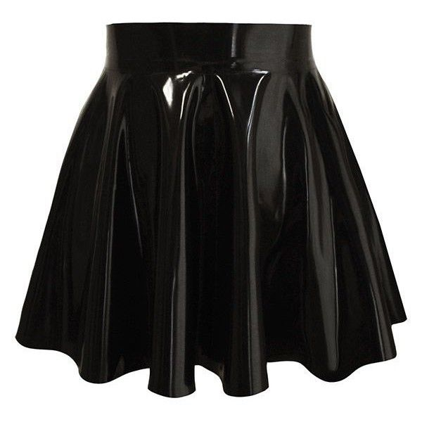 Couture Latex Skater Skirt | Atsuko Kudo ❤ liked on Polyvore featuring skirts, bottoms, circle skirt, latex skirt, atsuko kudo, skater skirt and flared skirt