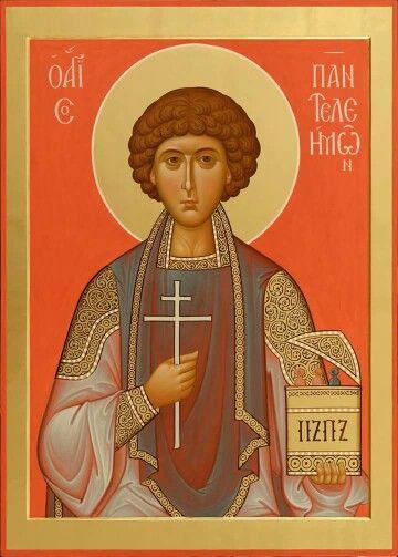 The orange icon of st.panteleimon Seeing orange and gold a lot.