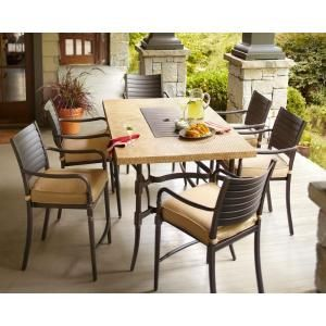 Hampton Bay Madison 7-Piece Patio High Dining Set with Textured Golden Wheat Cushions-13H-001-7GH at The Home Depot