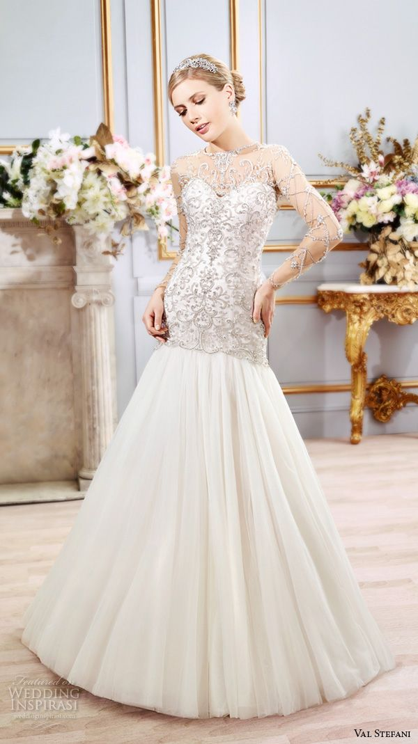 val stefani spring 2016 wedding dresses drop waist trumpet embroidered modified a line tulle skirt gown jewel illusion neckline sheer jeweled long sleeves d8103
