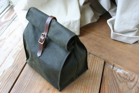 Waxed Canvas Lunch Bag from Overlap- Etsy  Very nice. I'm also all for just wrapping canvas around lunch and tying it with natural twine.