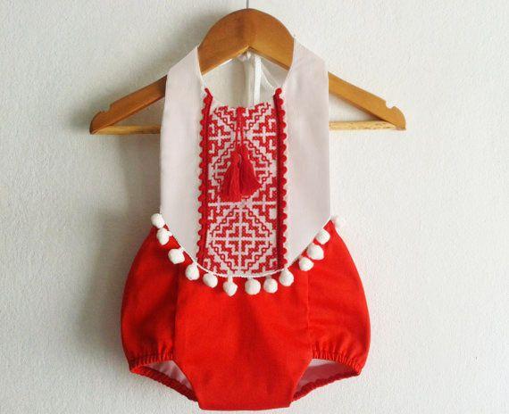 Barboteuse bébé fille barboteuse/Boho Chic rouge par VivaBohoKids