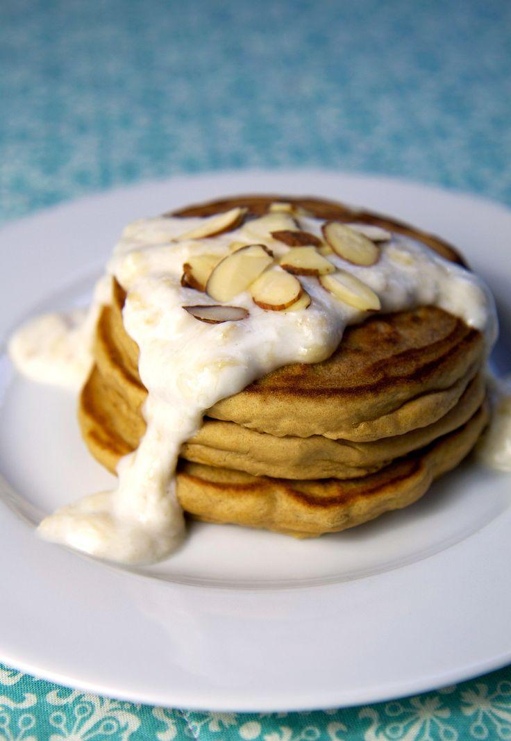 Gotta try this  Banana Cream SauceFit, Almond Pancakes, Pancakes Recipe, Food, Almond Protein, Healthy, Cream Sauces, High Protein Pancakes, Bananas Cream