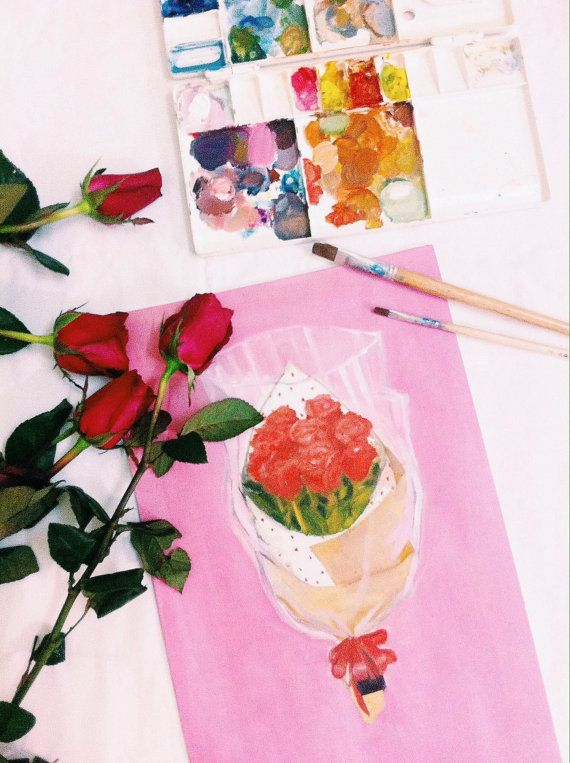Rose bouquet on pink background original painting by plartstudio, $45.00