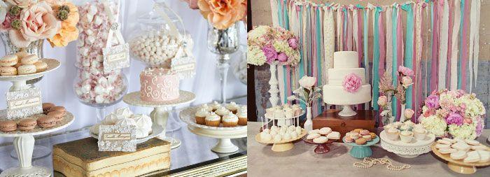 Винтажный стиль декорации свадебного кэнди-бара