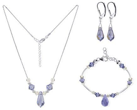 "Sterling Silver Lavender Crystal Bracelet Earrings with 18 inch Necklace Jewelry Set Made with Swarovski Elements Gem Avenue. Save 53 Off!. $50.99. Set with Necklace of size 16"" 18"" 20"" 22"" 24"". Made in .925 Sterling Silver. Gem Avenue SKU # SCST070. Necklace and Bracelet is Lobster Clasp. Made with Lavender Swarovski Elements"