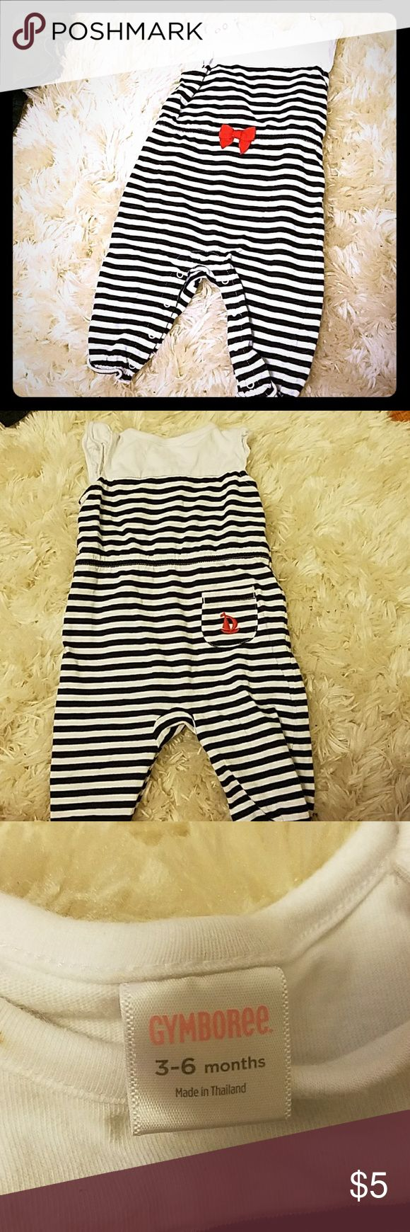 Nautical Striped Jumper Navy blue striped nautical jumper with red accents. Smoke free, pet free home. Gymboree One Pieces