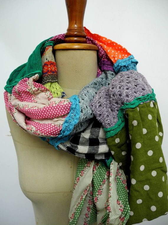 Teen Girls scarf Knit Patchwork scarf color block by peacockland
