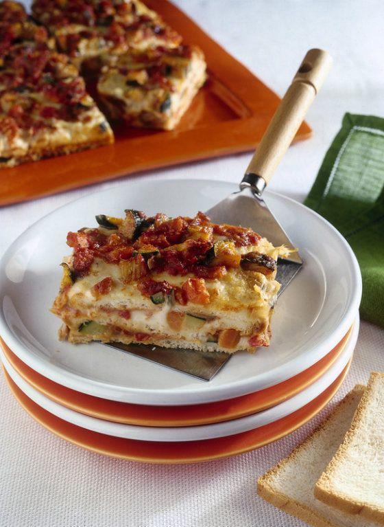 Lasagne di pancarrè con verdure e formaggio filante, primo vegetariano. | I Sapori della Nostra Cucina