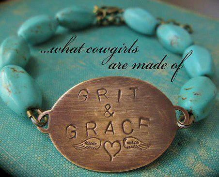 "COWGIRL ATTITUDE BRACELET ""Grit & Grace"" Angel Wing Heart Copper Plate with Turquoise Western Bracelet"