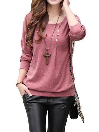 Botão casuais de manga comprida de algodão puro cor mulheres em torno do pescoço t-shirt