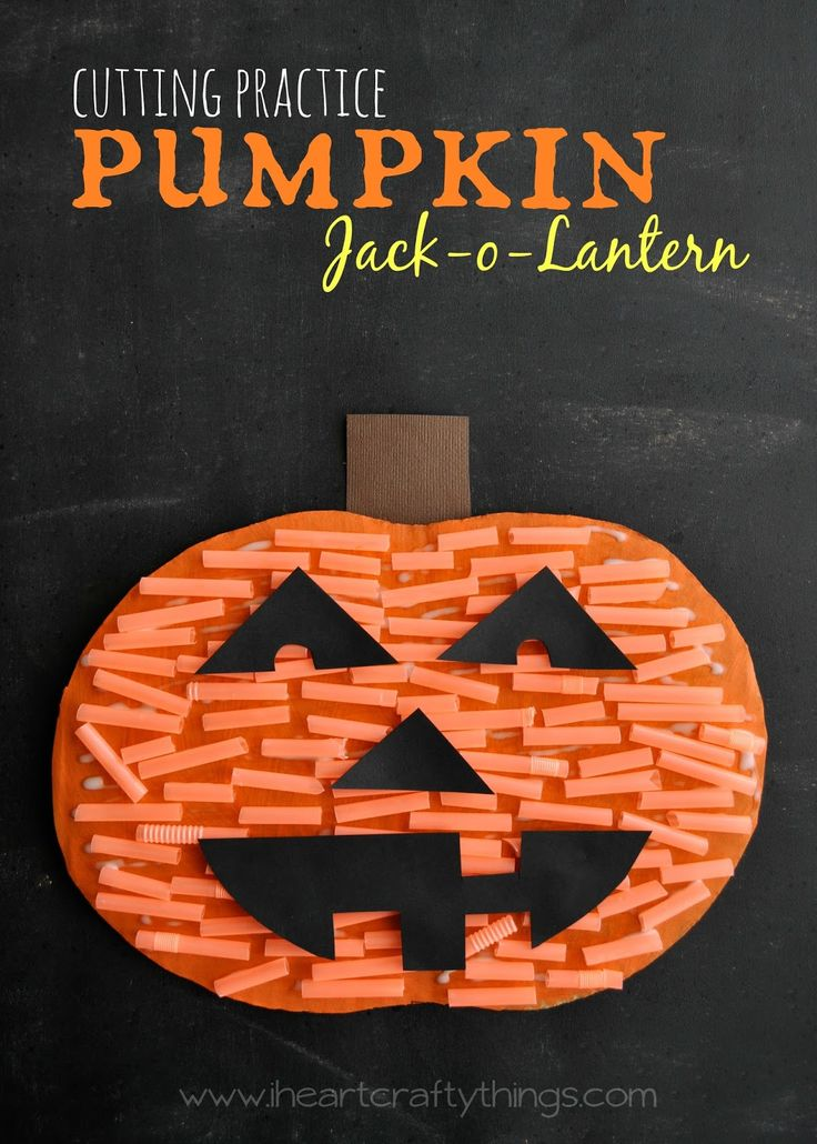 Turn left over orange straws from cutting practice into a textured Pumpkin Jack-o-Lantern Craft | iheartcraftythings.com | #halloween #creativepreschool