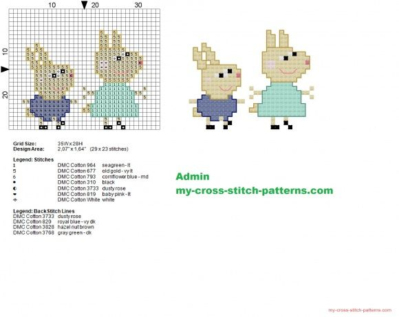 Rosie and Robbie Peppa Pig characters cross stitch pattern 29x23 (click to view)