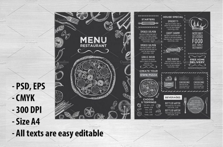 Pizza Menu Template – PSD, InDesign and EPS Format