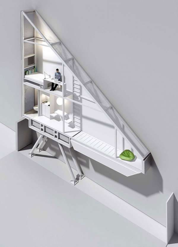 Model of the Keret house, The actual one was unveiled in October 2012 in Warsaw, Poland, this 5 feet wide, ultra-modern house sports three ladder-accessible floors and is now home to writer Etgar Keret from who the pill-shaped abode gets it's name.