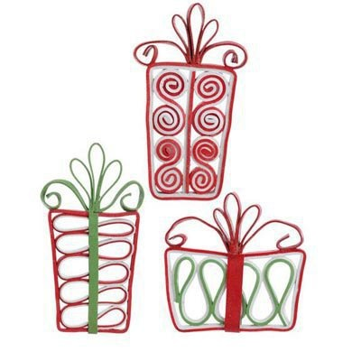 RAZ Flat Glittered Candy Ornaments