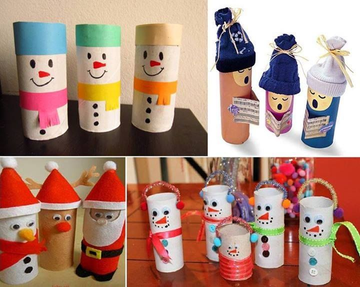 ¿Qué tal en lugar de bolsas para los aguinaldos, ocupas los tubos de papel higiénico para crear estos originales muñecos que puedes llenar con dulces?