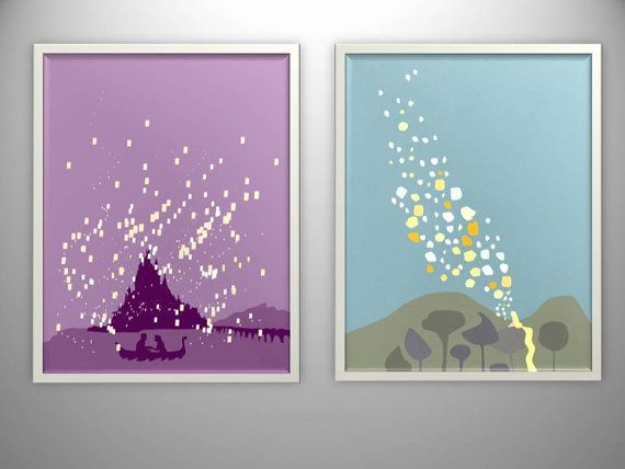 set of two...tangled minimalistic wall painting.. illustration.. digital download