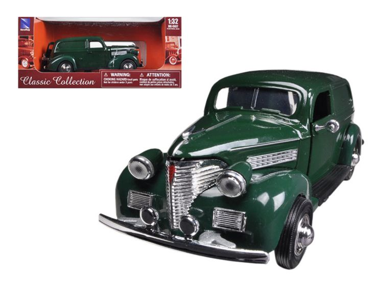 1939 Chevrolet Sedan Delivery Green 1/32 Diecast Car Model by New Ray - Brand new 1:32 scale diecast model of 1939 Chevrolet Sedan Delivery Green die cast model by New Ray. Brand new box. Rubber tires. Detailed interior, exterior. Has opening hood, doors and trunk. Made of diecast metal with some plastic parts. Dimensions approximately L-5 inches long. Please note that manufacturer may change packing box at anytime. Product will stay exactly the same.-Weight: 1. Height: 5. Width: 9. Box…