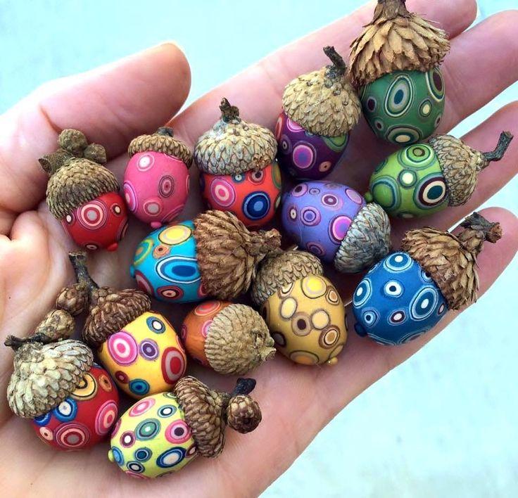 Painted acorns